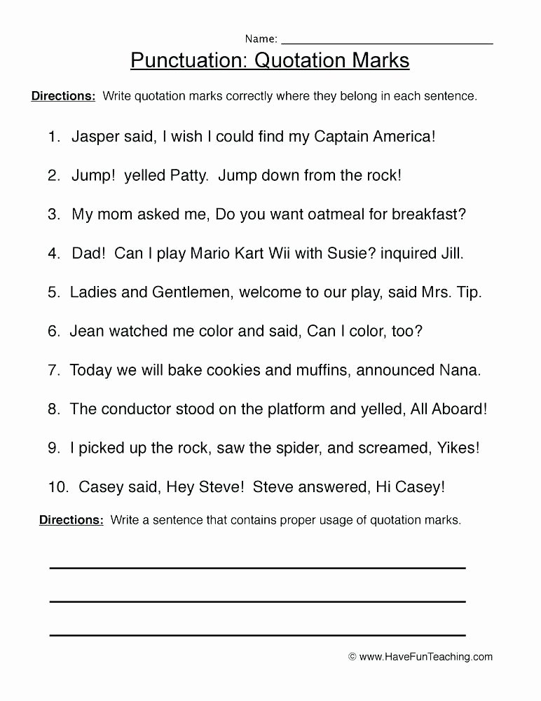 Quotation Worksheets 4th Grade Fifth Grade Grammar Worksheets