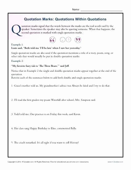 Quotation Worksheets 4th Grade Quotation Worksheets Period Worksheet Punctuation for Grade