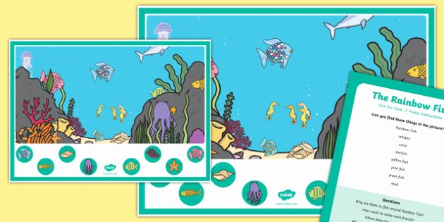 Rainbow Fish Worksheets Best Of Hunt the Fish Can You Find Poster and Prompt Card Pack