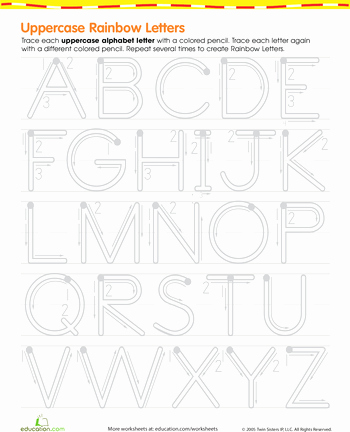 Rainbow Worksheets for Kindergarten Rainbow Letters Practice Writing Uppercase Letters