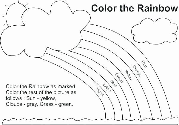 Rainbow Worksheets Preschool Coloring Pages with Color Words – Festivnation