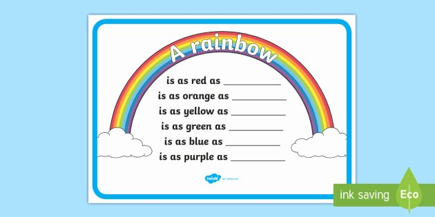 Rainbow Writing Worksheet Rainbow Simile Poem Writing Template Rainbow Simile Poem
