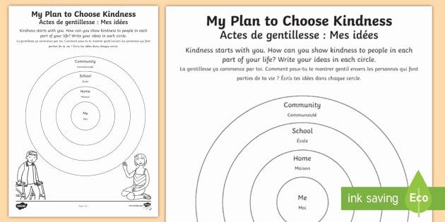 Random Acts Of Kindness Worksheets My Plan to Choose Kindness Worksheet Worksheet English