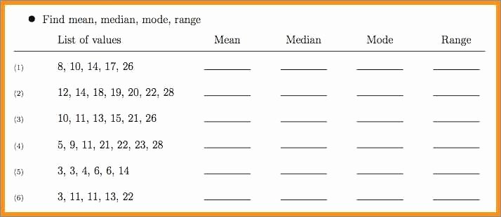 Range Mode Median Worksheets Mean Median Mode and Range Worksheets