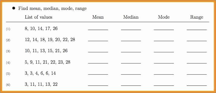 Range Mode Median Worksheets Mean Median Mode and Range Worksheets