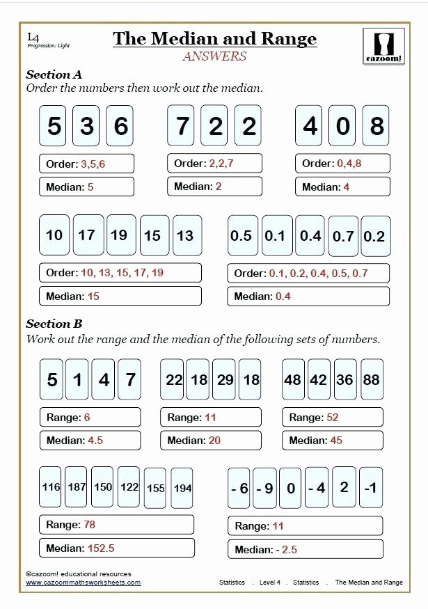 Range Mode Median Worksheets Mean Median Mode Worksheets Range Maths Worksheet Answer