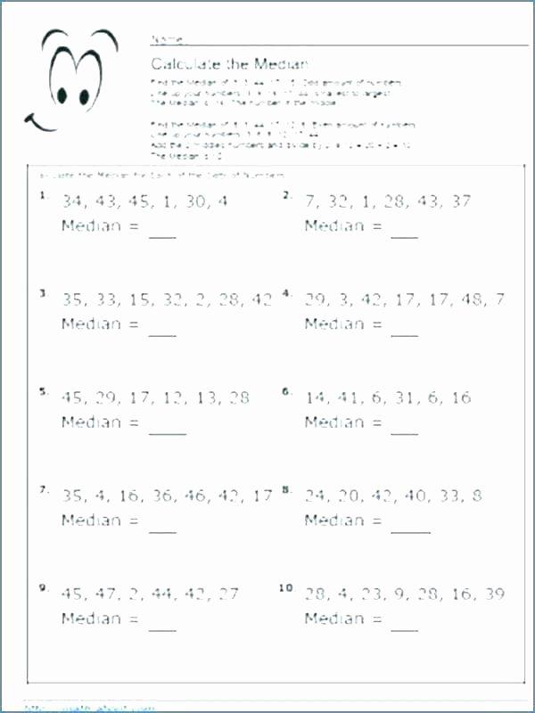 Range Mode Median Worksheets Median Worksheets – Benaqiba