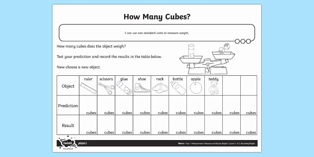 Reading A Scale Worksheet How Many Cubes Weight Worksheet Worksheet Measurement