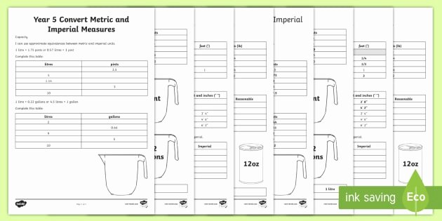 Reading A Scale Worksheet Year 5 Convert Metric and Imperial Measures Worksheets