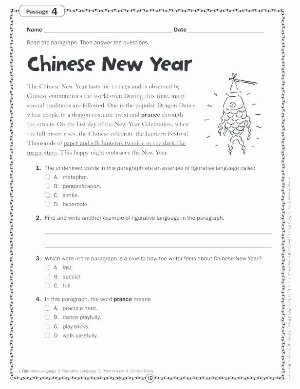 Reading Comprehension 7th Grade Worksheet Free 7th Grade Language Arts Worksheets