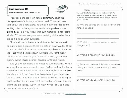 Reading Comprehension Worksheets 6th Grade Grade Reading Prehension Worksheets 6th Pdf Science