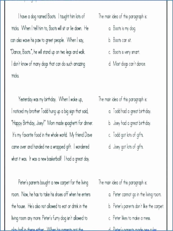 Reading In Context Worksheets Easy Main Idea Worksheets