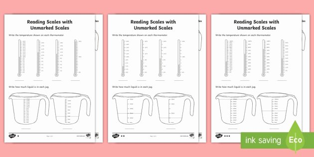 Reading Scales Worksheets Read Scales with Unmarked Divisions Differentiated
