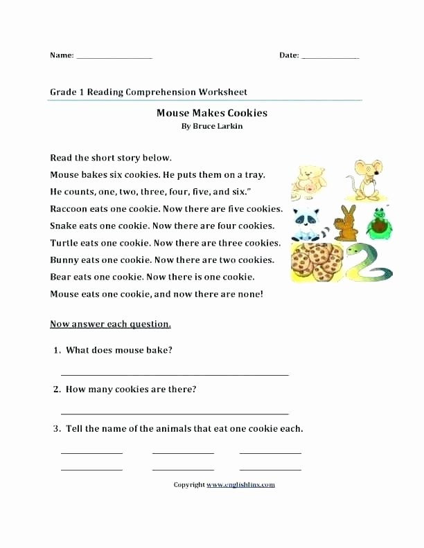 Reading Worksheets 5th Grade French Free Reading Prehension Worksheets Easy for Grade