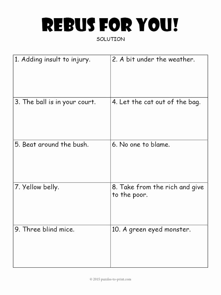 Rebus Puzzles for Adults Printable Pin On Education