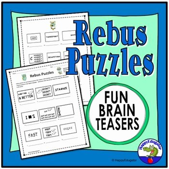 Rebus Puzzles for Adults Printable Rebus Puzzles with Answers Worksheets & Teaching Resources