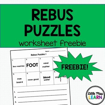 Rebus Puzzles for Middle School Rebus Puzzle Worksheets