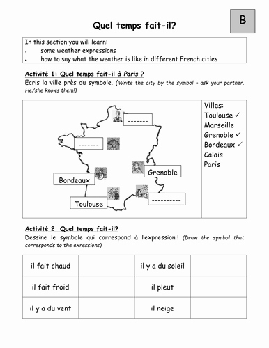 Recognizing Emotions Worksheets Pairwork Worksheets On Weather In Em French Em