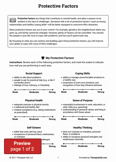 Recognizing Emotions Worksheets Protective Factors Worksheet therapy