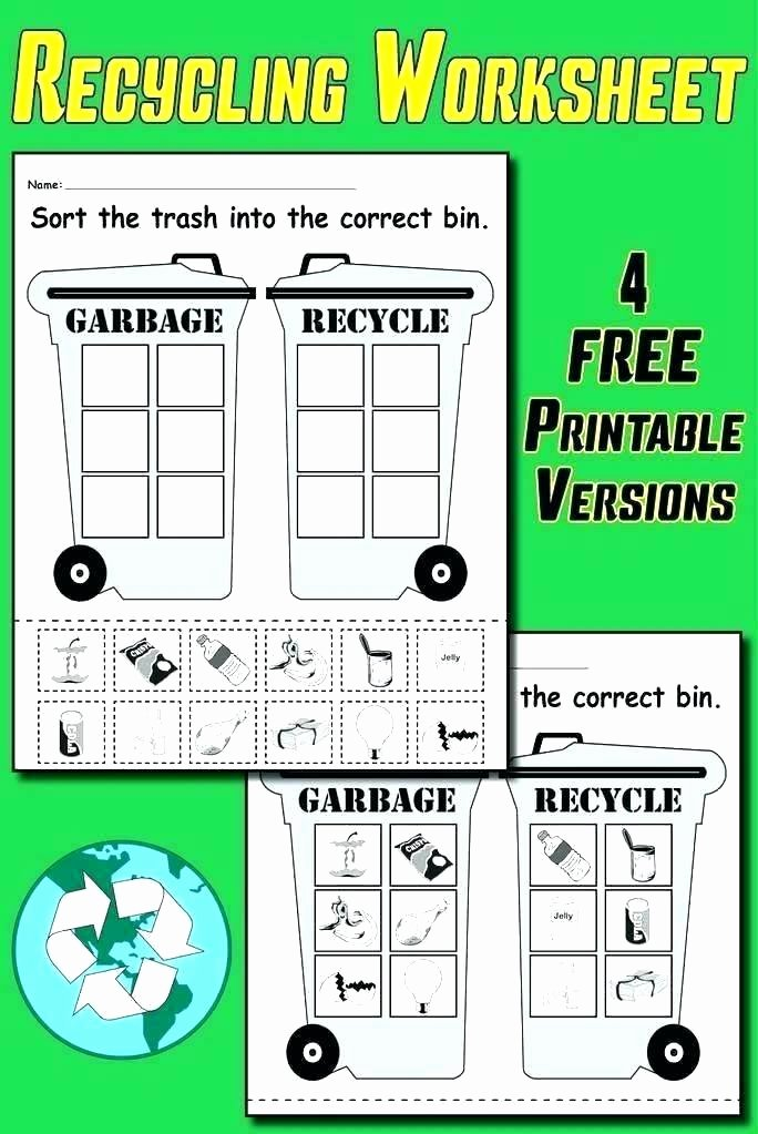 Recycling Worksheets for Middle School Printable Worksheets for Elementary Students