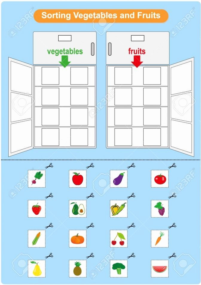 Recycling Worksheets for Middle School sorting Fruits and Ve Ables Inrefrigerator Worksheet for