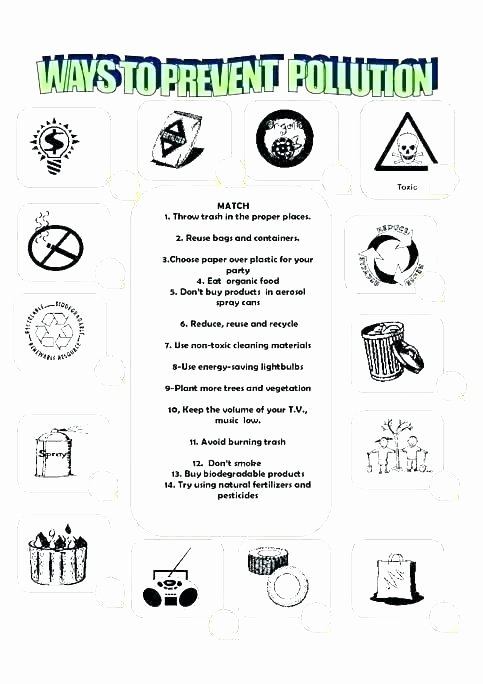 Recycling Worksheets for Middle School Water Pollution Worksheets for Middle School