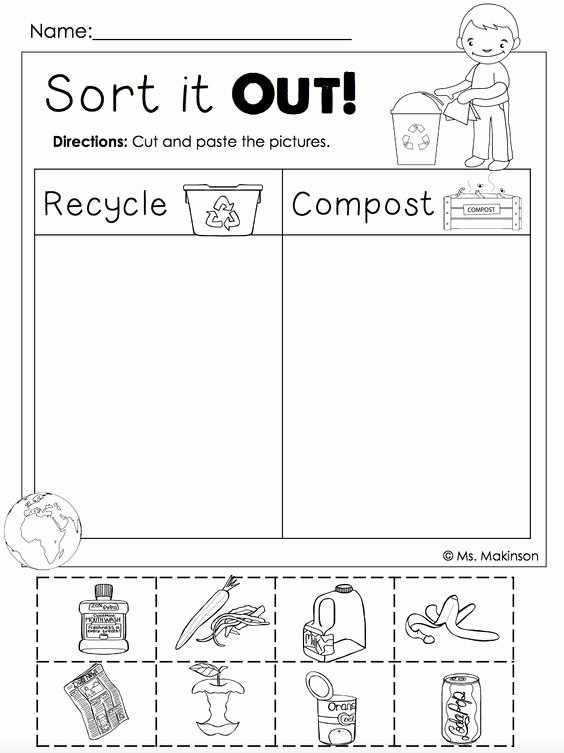 Recycling Worksheets for Preschoolers Earth Day Free Life Skills Special Education