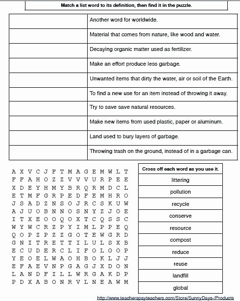 Recycling Worksheets for Preschoolers Earth Day Free Preschool Word Search Worksheets Activities