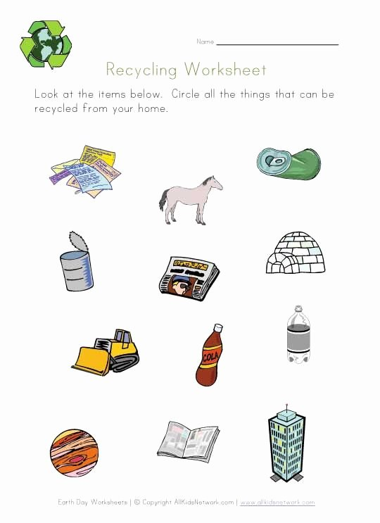 Recycling Worksheets for Preschoolers Shan Gu Gu2662 On Pinterest