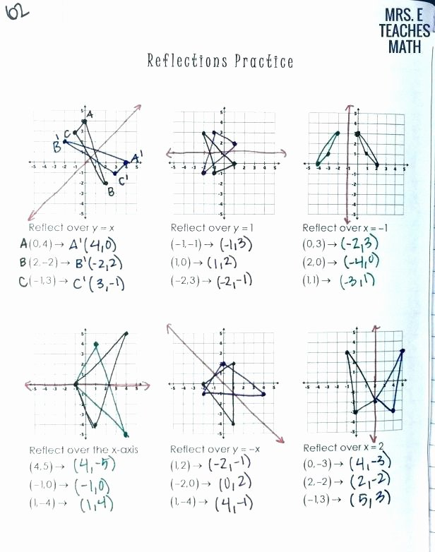 Reflection and Translation Worksheets 7 Transformations Worksheet 1 Of 3 Translations In Math