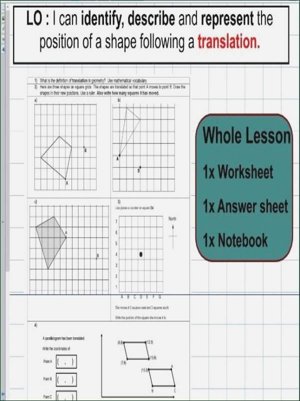 Reflection and Translation Worksheets Translation Worksheet