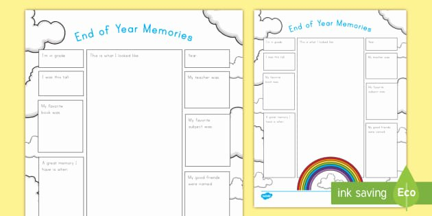 Reflection Math Worksheets Inspirational End Of the Year Memories Worksheet Reflection