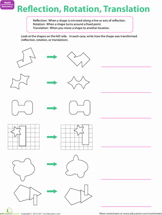 Reflection Math Worksheets Unique 7 Transformations Worksheet 1 Of 3 Translations In Math