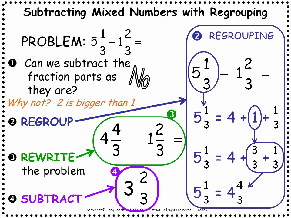 Regrouping Fractions Worksheet Subtracting Mixed Fractions Khan Academy