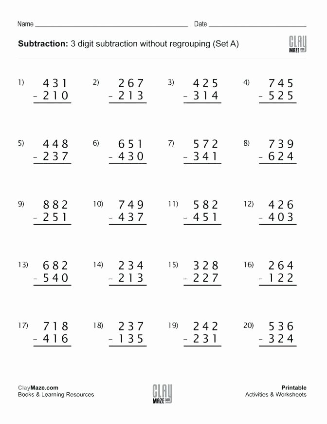 Regrouping Subtraction Worksheets 3rd Grade 3rd Grade Subtraction Worksheets 3 Digit Subtraction