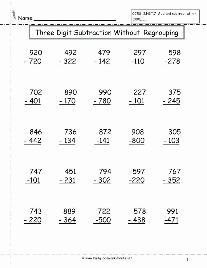 Regrouping Subtraction Worksheets 3rd Grade Three Digit Addition and Subtraction Worksheets the Mixed