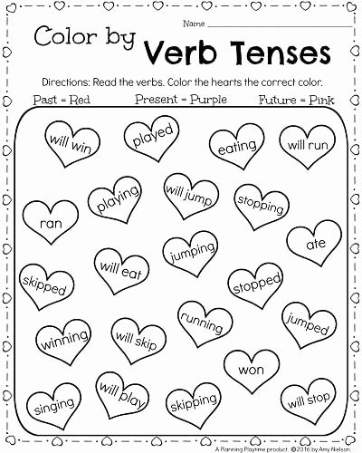 Regular Past Tense Verb Worksheets 1st Grade Math and Literacy Worksheets for February