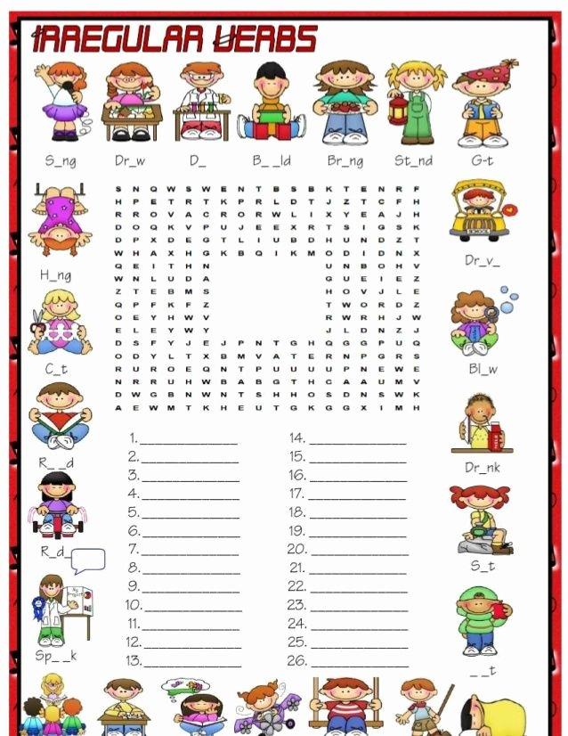 Regular Past Tense Verb Worksheets Irregular Verbs Crosswords Past Simple Sheets