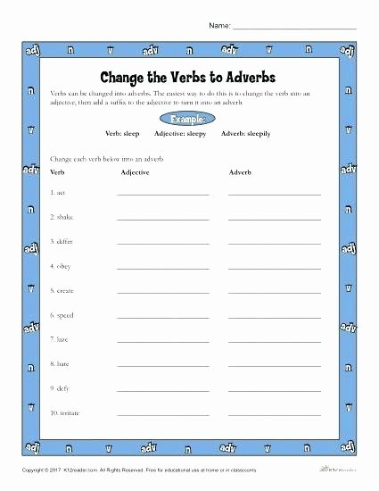 Relative Adverbs Worksheet 4th Grade Change the Verb to Adverbs Worksheet Activity Verbs