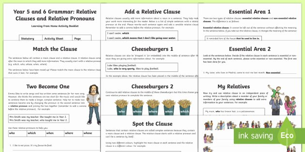 Relative Adverbs Worksheet 4th Grade Year 5 and 6 Relative Clauses and Relative Pronouns Activity
