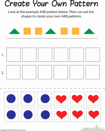 Repeated Pattern Worksheets Aab Pattern Primary Math Patterns