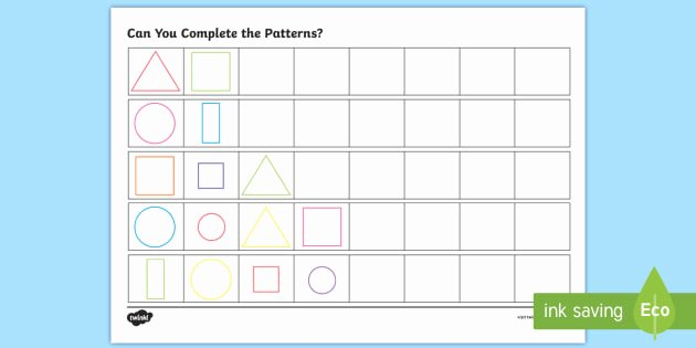 Repeated Pattern Worksheets Free Repeating Pattern Worksheet Worksheets Shapes