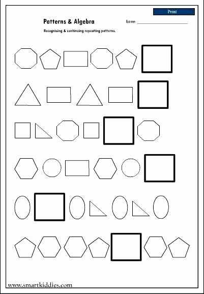 Repeated Pattern Worksheets Math Number Patterns Worksheets