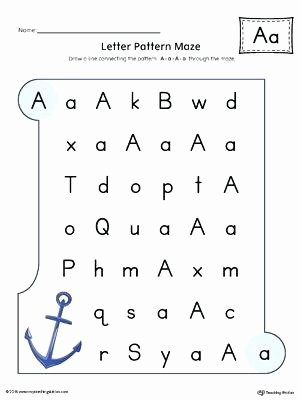 Repeated Patterns Worksheets Letter A Pattern Maze Worksheet Color Letter Pattern