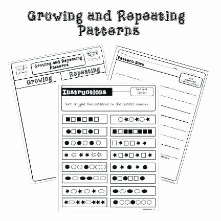 Repeated Patterns Worksheets Patterning Worksheets Picture and Number Patterns Growing