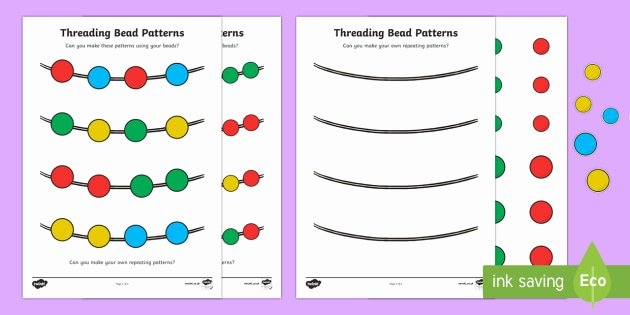 Repeated Patterns Worksheets Repeating Pattern Bead Threading Worksheet Worksheet