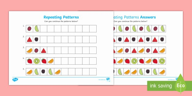 Repeated Patterns Worksheets Repeating Pattern Fruit Worksheets Repeating Patterns