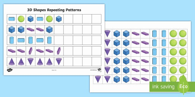 Repeating Pattern Worksheets 3d Shape Patterns 3d Shape Pattens 3d Shapes Patterns