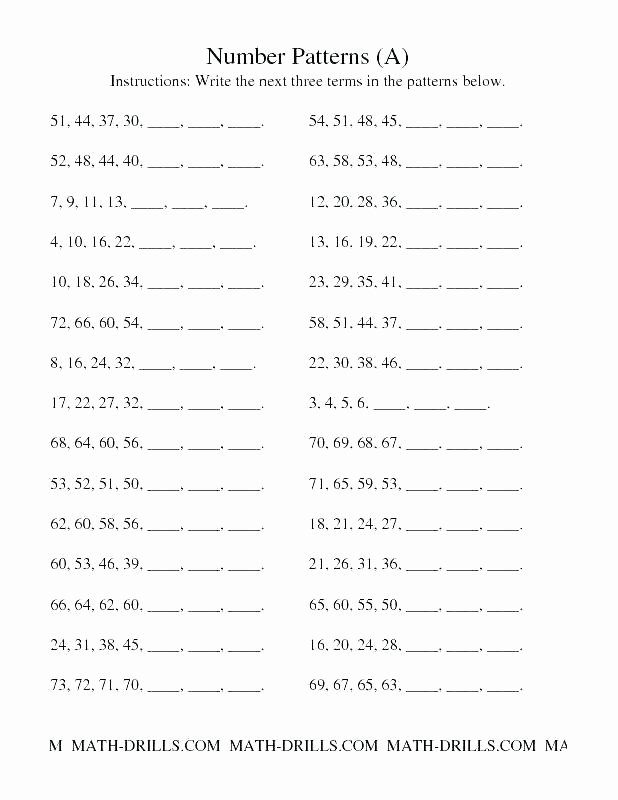 Repeating Pattern Worksheets Math Number Patterns Worksheets