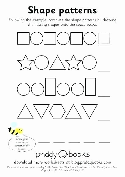 Repeating Pattern Worksheets Number Patterns Worksheets for Kindergarten